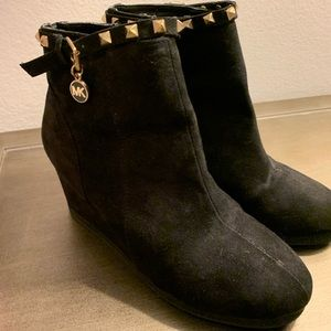 Michael Kors Black Suede Wedge Bootie for girls